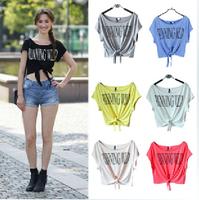 2014 New Summer Crop Tops Vestidos Roupas Femininas Blusas Designal Letters Print Short Sleeve T Shirt Blouse Tops Free Shipping