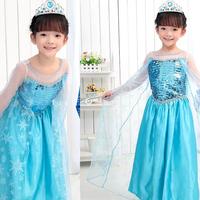 Momo - Wholesale Frozen  Elsa dresses, Princess Elsa Frozen costumes dresses for girl, with ornament, free shipping