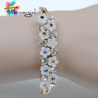 European Fashion Design Flowers Multiple Rhinestone Plated Bangle Women Accessories[3263-A53]