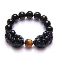 Natural obsidian double male pi xiu bracelet lucky evil spirits