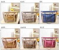Wholesale+Retail 2014 fashion transparent beach bag hot sell women handbag, TOUGH big laides shopper shoulder bags