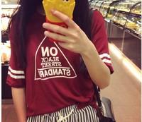 New 2014 Summer Korean All-match Loose Triangle Letter Print Short Sleeve O-Neck Tee Tops girl t shirt women Free Shipping