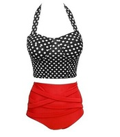 New Fashion Retro Style Women's Halterneck High-Waisted Polka Dot Bikini Set Women's Vintage Style Fashion Swimsuit In Summer