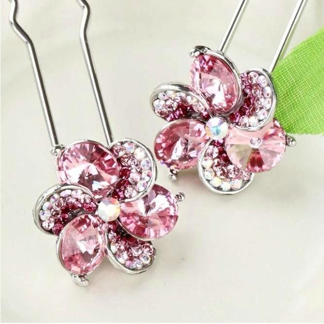 1pcs Free shipping Korean style hair jewelry 2014 New rhinestone crystal flower hair pin hair sticks L065(China (Mainland))