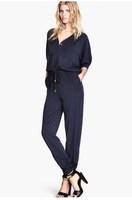 Women new fashion Jumpsuits 2014 summer Chiffon V-neck Overalls Elastic waist Navy Jumpsuit