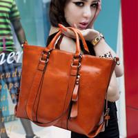 Genuine cowhide fashion leather 2014 women's handbag women's  big cross-body bags