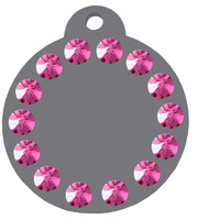 Personalized Engraved Round Crystals cat tag  Pet Tag Pet id dog tag Collars Grey light  with pink crystals