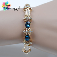 Blue And White Rhinestone Gold Plated Bracelets Bangles For Women 2014 Fashion Jewelry[3263-A55]