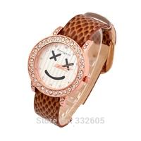 New Arrive!Fashion Women Rhinestone Smiling Dress Watch Clock Ladies Female Leather Strap Crystal Smile Face Quartz Wristwatch