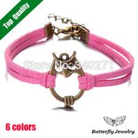 2014 Vintage Bronze Owl Bracelet Bangle Charm Simple Leather Bracelet For Women Wholesale($2 Off Per $12)