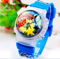 166695 Blue/Black 3D Cartoon Watch Cool Boys Clamshell Children Kids Students Silicone Digital Watch Clock Light Birthday Gifts