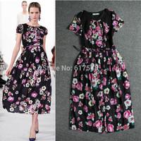 2014 elegant flower print formal dress brend  retro dress with belt