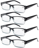R012 Free Shipping 4-pack Spring Hinges Rectangular Reading Glasses Includes Sun Readers Black-4pcs +1.0--+4.00