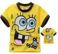 xlbb4 boys summer clothes 2-8 age spongebob boys t shirt free shipping 6pcs/ lot