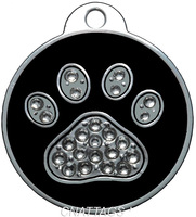1X Personalized Engraved Paw Crystals Pet Tag Pet id dog tag Collars  2color CHOOSE