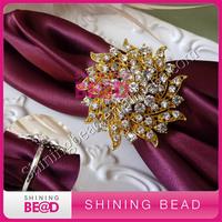 gold plating clear rhinestone napkin ring for table decor,free shipping,elegant gold rhinestone napkin ring