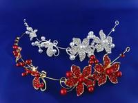 free shipping Fashion flower shape hair accessories crystal rhinestone crystal pearl wedding bridal Crown  sky-j111