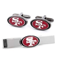 NFL San Francisco 49ers Plated Cufflinks And Tie Bar Gift Set Football PD-49R-CT