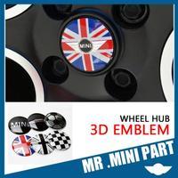 4PCS Metal Wheel Center Hub Caps Stickers  Union Flag heart shape carton  Emblem 3D 56mm Sticker mini cooper MINI