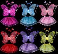 Lovely Girl Butterfly Wings Fairy Child Custome Tutu Dress Up Outfits Sets New (one lot/4 set,4 piece/set)