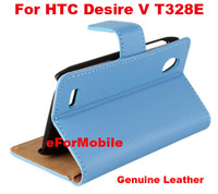 100% Genuine Leather Case Mobile Phone Case Wallet Stand Cover For HTC Desire V T328E HTC Desire X T328W