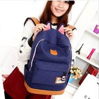 2014 New Campus Girl Women Cartoon Cat Ear Shoulder Bag Backpack Schoolbag Men Canvas Backpacks Travel Hiking Bags Rucksack