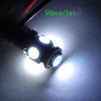 D19+wholesale!50 Pcs/Lot White Ba9s T4W 1895 Car SMD 5 LED Bulbs Lights