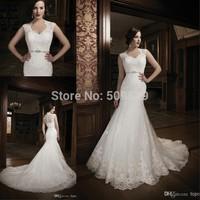 Vestido de noiva Custom Made 2014 See Through Back mermaid wedding dresses Long Train Lace Wedding Dresses 2014 Bridal Gown