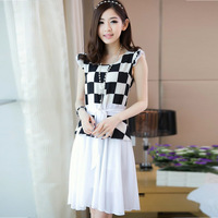 Vintage black and white plaid patchwork chiffon short-sleeve dress slim waist lacing ruffle sleeve chiffon dress full