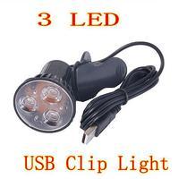 D19 Free Shipping Super Bright 3 LED Port Clip On Spot USB Light Lamp For Laptop PC Notebook Black