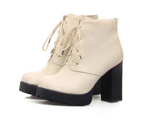 2014 new autumn and spring women boots, square high heel Platform lace up ankle boots size 34-39 free shipping g001