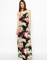 2014 New Style Sexy Ladies Backless Maxi Dress Big Flower Beach Strap Printed Long Dress With Lining For Factory Dropshipping