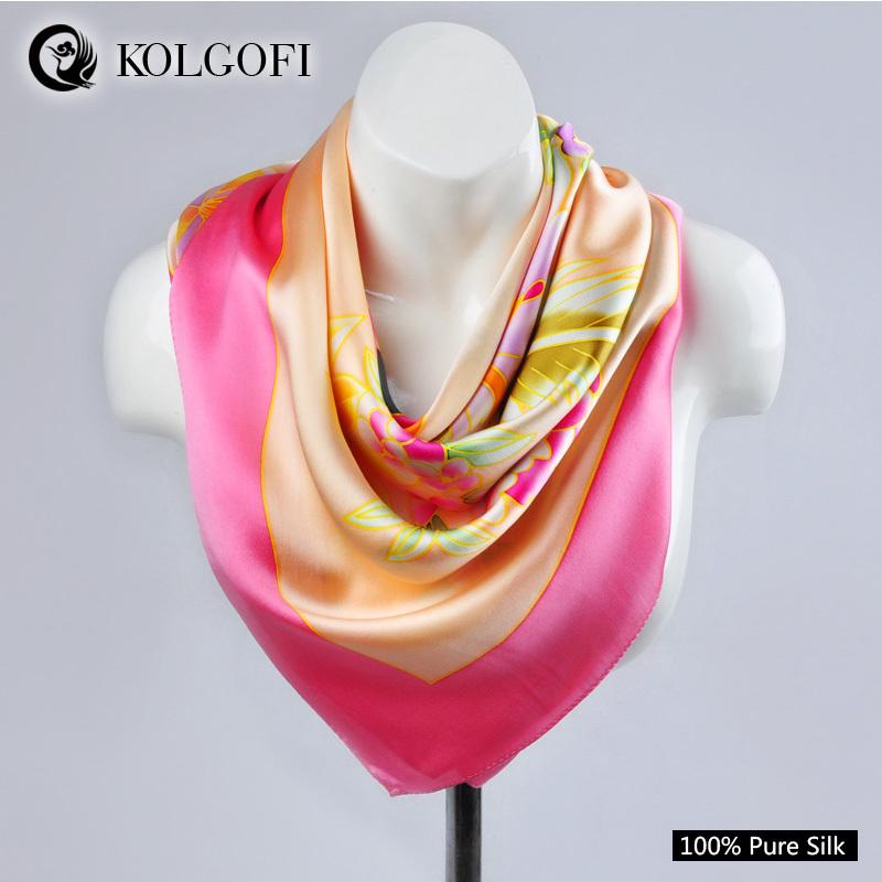KOLGOFI 2015 Hot Sale foulard fashion brand 100% Silk scarf Printed Fashion Crepe Satin Plain shawls and hijabs 110*110cm(China (Mainland))