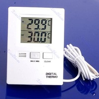 D19Free Shipping LCD Digital Indoor And Outdoor Thermometer Temperature Meter White