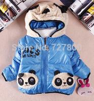 new 2014 winter thick warm cotton-padded cartoon panda children's wear boy coat winter outwear kids thick outfit