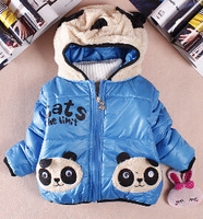 winter thick warm cotton-padded cartoon panda children's wear boy coat winter  outwear kids thick outfit wholesale retail