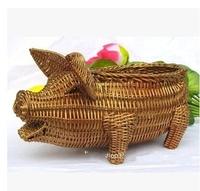 kingart dome decorRustic rattan home decoration storage box golden pig crafts
