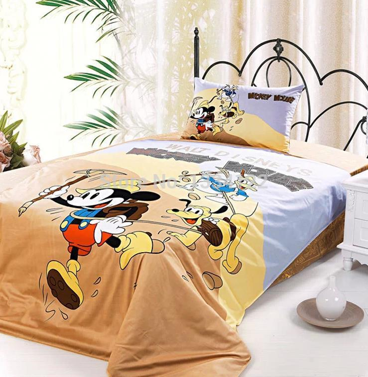 China cartoon brown Mickey 3 pieces boy bedding set(China (Mainland))