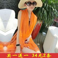 Free shipping summer new fashion solid color lengthen chiffon cachecol beach pashmina echarpes female silk scarf women