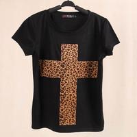Free Shipping! 2014 Brand Casual women T-shirts cross leopard Pure Cotton Short Sleeve Women T shirt X-large size