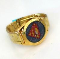 2014 New Hot Superman Pattern Fahsion36 star Diamond flag Quartz male clock Men's Watches Luxury gold watch army watch Gift