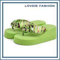2014 New Summer Bohemia Leopard Wedges Slippers Comfortable Platform shoes  Beach Flip Flop Candy Color Fashionable Sandals