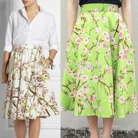 2014 New Summer Autumn Women Vintage Hepburn Style Peach Floral Print Pleated Midi Skirt High Waist Swing Skirt Ball Gown Skirt