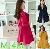 M-4XLsize free shipping women winter coats 2014 new plus size slim women double breasted woolen overcoat