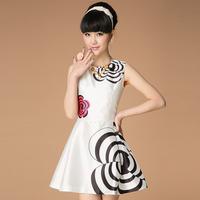 2014 fashion high quality elegant women's spaghetti strap sleeveless o-neck print one-piece dress tank dress flower