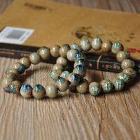 Fashion bead bracelet unique black clay water crack glaze