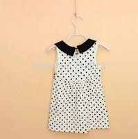 Free Shipping 5pcs/lot 2014 summer new children's clothing wholesale Girl Dot sleeveless dress girls summer Top