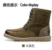 KL5071 Konlon 2014 winter scrub genuine leather comfortable male boots outdoor casual male martin boots
