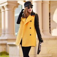 Winter women long sections style pu leather sleeve patchwork wool & Blends jacket/coat wool warm overcoat casual dress