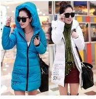 Autumn winter slim coat women 2014 long down cotton-padded jacket female wadded jacket ladies plus size jackets coats XXXL C1793